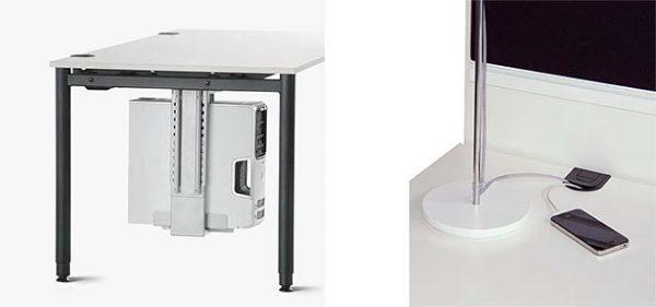 PC-Halter am Schreibtisch agilos plus, Kabeldurchlass in der Tischplatte