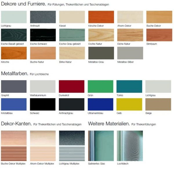 Oberflächen und Farben Empfangstheke Visitass